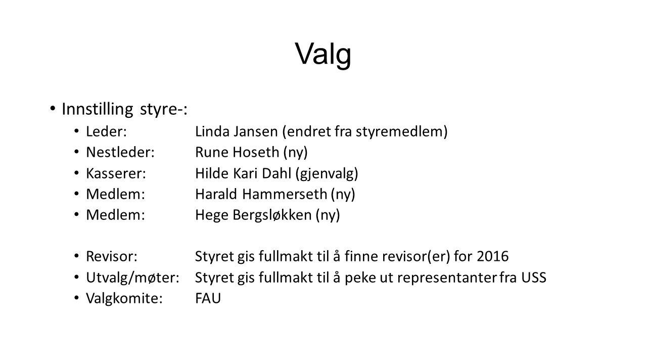 Valg Innstilling styre-: Leder: Linda Jansen (endret fra styremedlem) Nestleder:Rune Hoseth (ny) Kasserer: Hilde Kari Dahl (gjenvalg) Medlem:Harald Hammerseth (ny) Medlem: Hege Bergsløkken (ny) Revisor: Styret gis fullmakt til å finne revisor(er) for 2016 Utvalg/møter: Styret gis fullmakt til å peke ut representanter fra USS Valgkomite: FAU