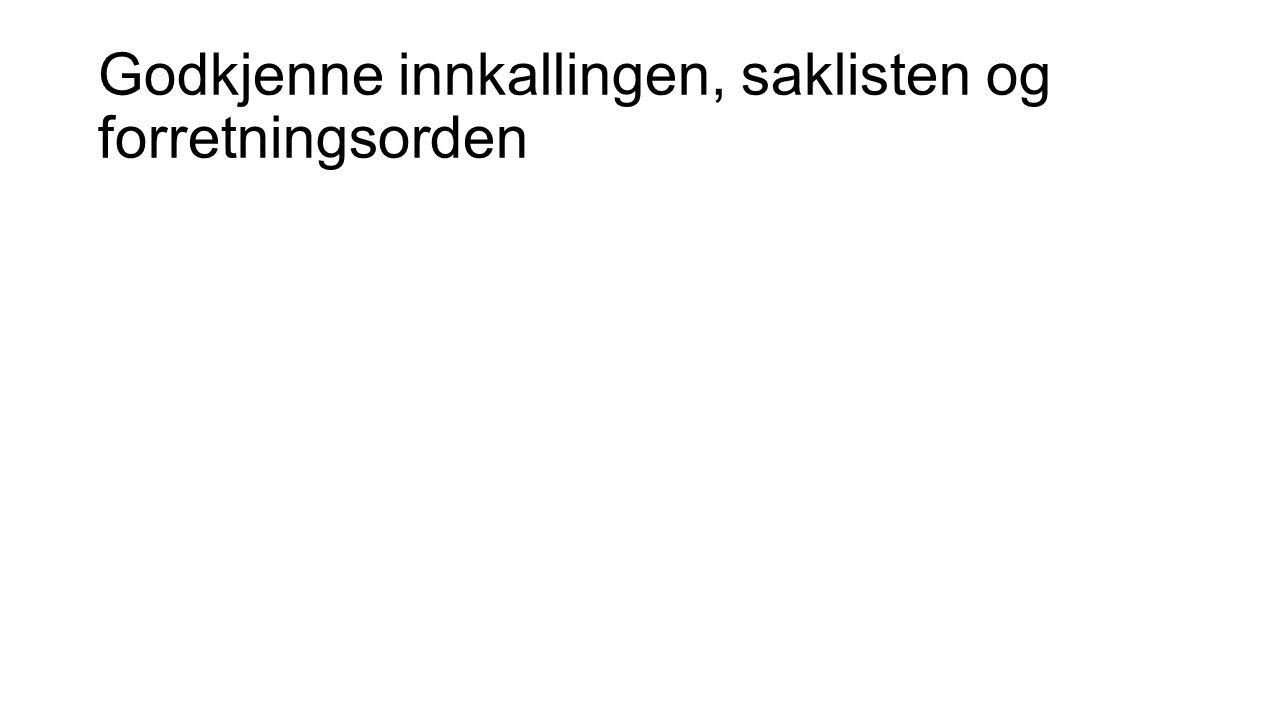 Velge dirigent, referent, samt to medlemmer til å underskrive protokollen Dirigent: Referent: Linda Jansen Signering av protokoll: