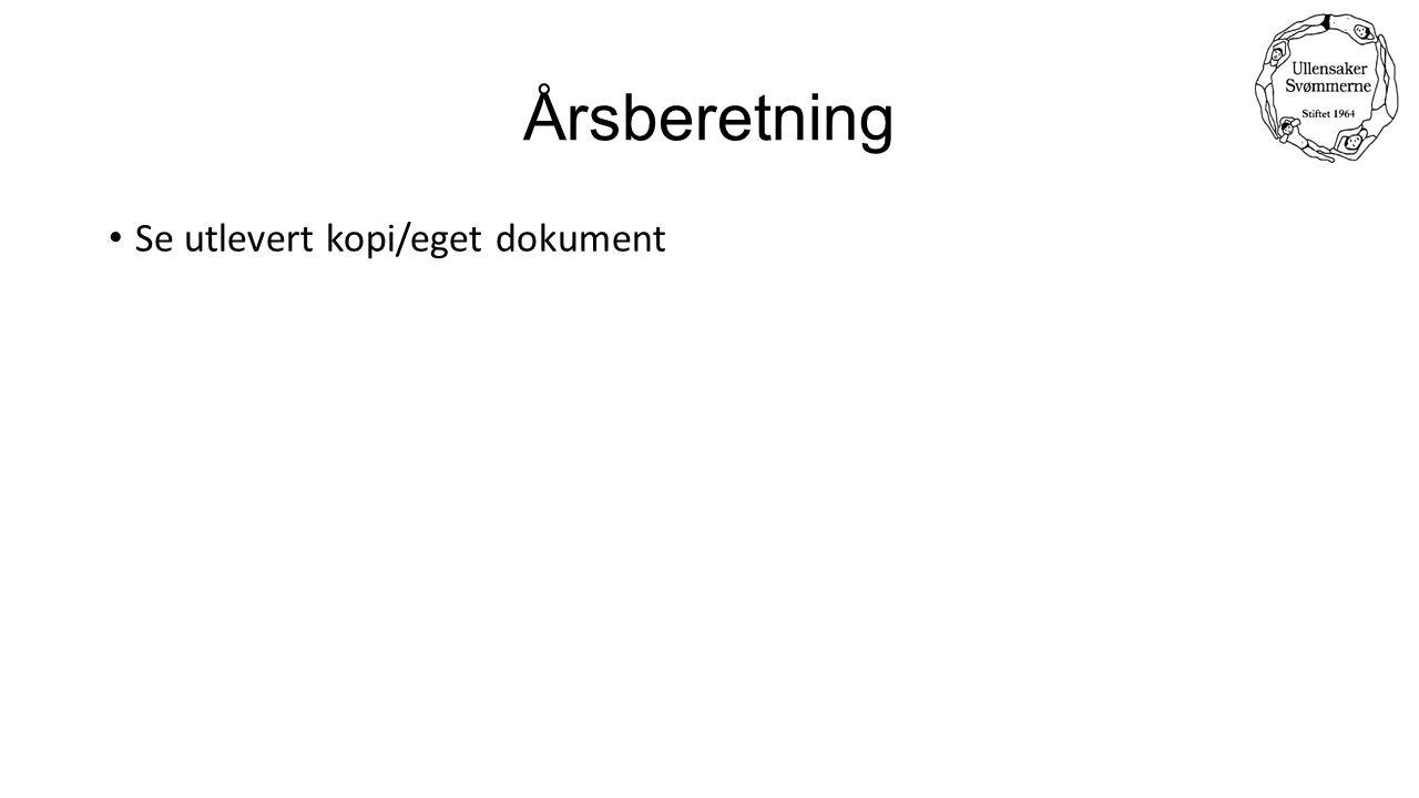 Årsberetning Se utlevert kopi/eget dokument