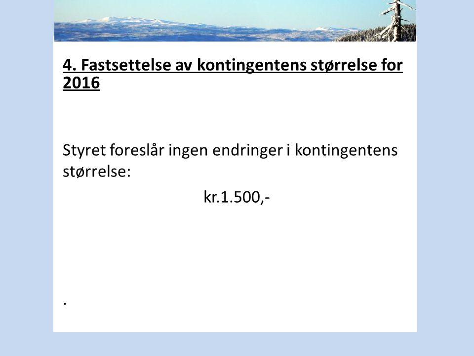 4. Fastsettelse av kontingentens størrelse for 2016 Styret foreslår ingen endringer i kontingentens størrelse: kr.1.500,-.
