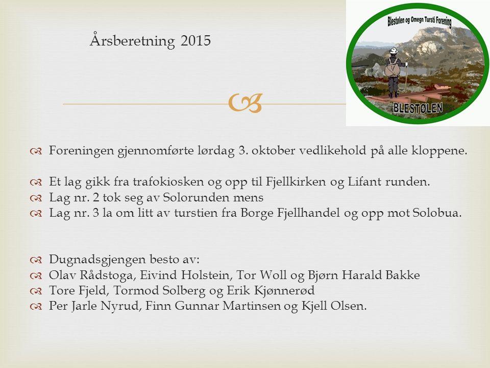  Årsberetning 2015  Foreningen gjennomførte lørdag 3.