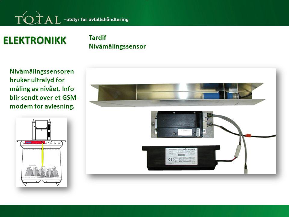 ELEKTRONIKK Tardif Nivåmålingssensor Nivåmålingssensoren bruker ultralyd for måling av nivået.