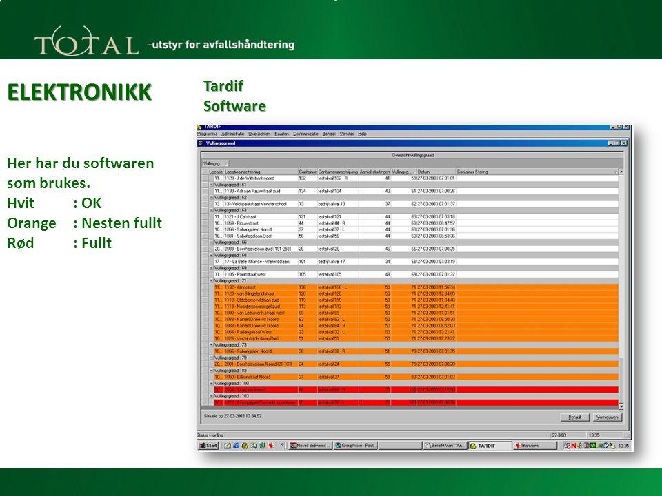 ELEKTRONIKK Tardif Software Her har du softwaren som brukes.