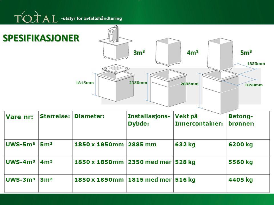 Vare nr: Størrelse:Diameter: Installasjons- Dybde: Vekt på Innercontainer: Betong- brønner: UWS-5m³5m³1850 x 1850mm2885 mm632 kg6200 kg UWS-4m³4m³1850 x 1850mm2350 med mer528 kg5560 kg UWS-3m³3m³1850 x 1850mm1815 med mer516 kg4405 kg SPESIFIKASJONER 3m 3 4m 3 5m 3 1815mm2350mm 2885mm 1850mm