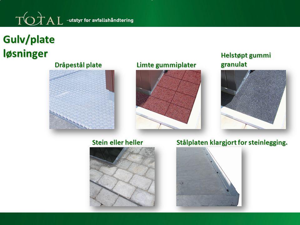 Gulv/plate løsninger Dråpestål plate Limte gummiplater Helstøpt gummi granulat Stein eller heller Stålplaten klargjort for steinlegging.