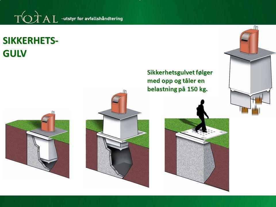 Sikkerhetsgulvet følger med opp og tåler en belastning på 150 kg.