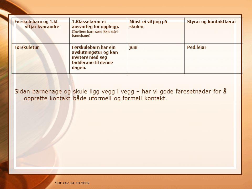 Sist rev.14.10.2009 Førskulebarn og 1.kl vitjar kvarandre 1.Klasselærar er ansvarleg for opplegg. (Invitere barn som ikkje går i barnehage) Minst ei v