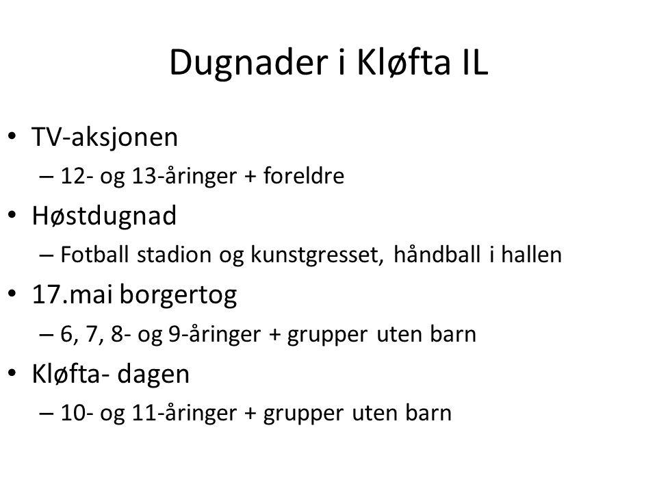 Dugnader i Kløfta IL TV-aksjonen – 12- og 13-åringer + foreldre Høstdugnad – Fotball stadion og kunstgresset, håndball i hallen 17.mai borgertog – 6,