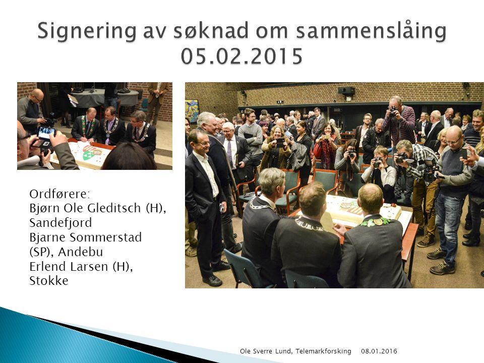 08.01.2016 Ole Sverre Lund, Telemarkforsking Ordførere: Bjørn Ole Gleditsch (H), Sandefjord Bjarne Sommerstad (SP), Andebu Erlend Larsen (H), Stokke