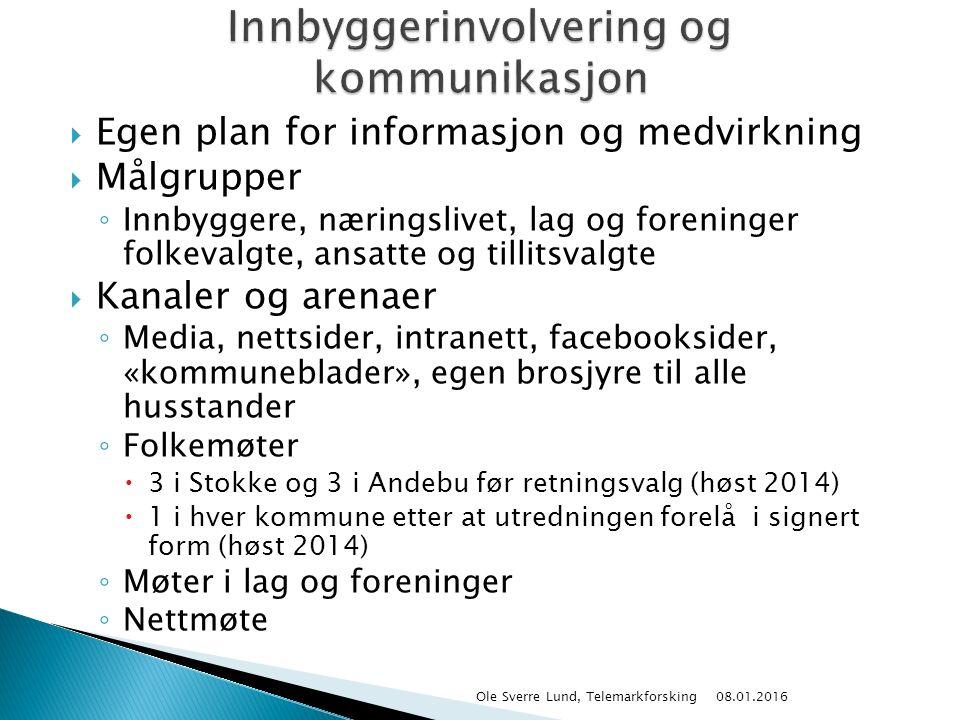  Egen plan for informasjon og medvirkning  Målgrupper ◦ Innbyggere, næringslivet, lag og foreninger folkevalgte, ansatte og tillitsvalgte  Kanaler