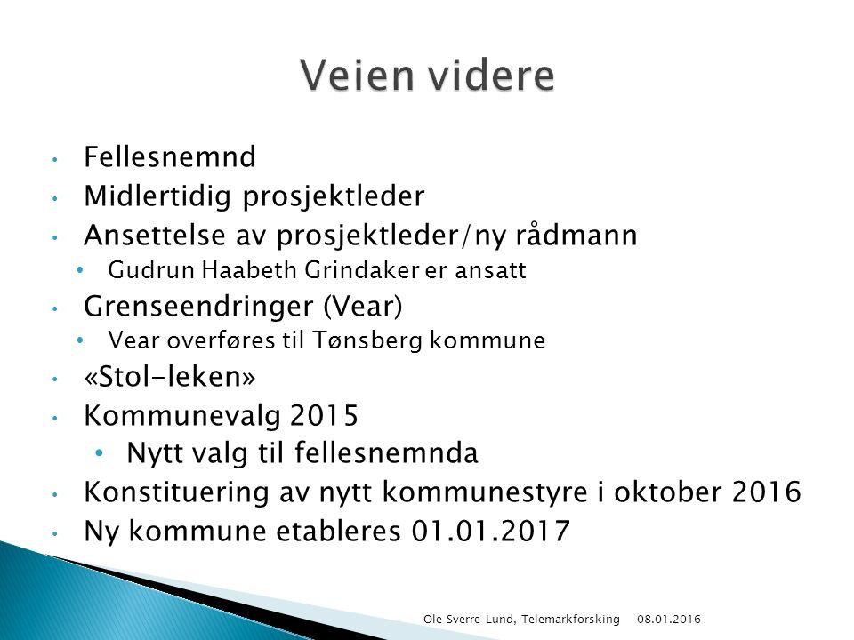 Fellesnemnd Midlertidig prosjektleder Ansettelse av prosjektleder/ny rådmann Gudrun Haabeth Grindaker er ansatt Grenseendringer (Vear) Vear overføres