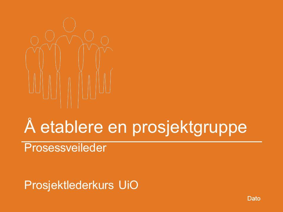 Å etablere en prosjektgruppe Prosessveileder Prosjektlederkurs UiO Dato