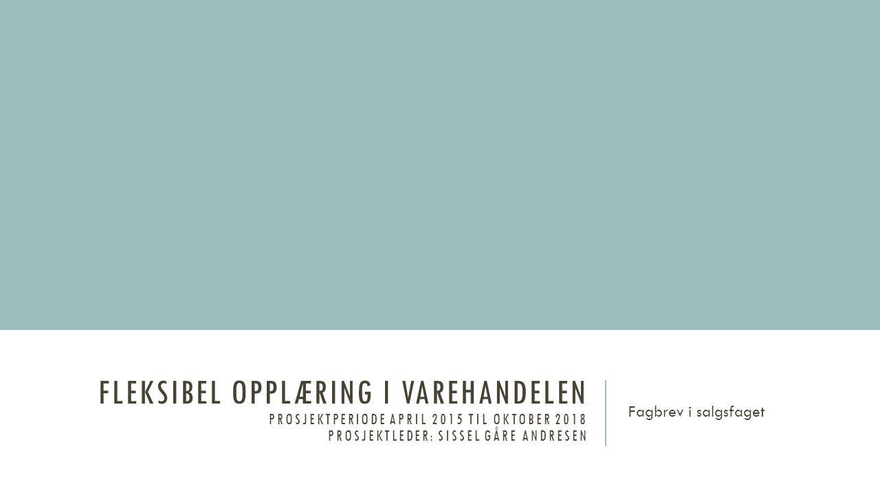 FLEKSIBEL OPPLÆRING I VAREHANDELEN PROSJEKTPERIODE APRIL 2015 TIL OKTOBER 2018 PROSJEKTLEDER: SISSEL GÅRE ANDRESEN Fagbrev i salgsfaget
