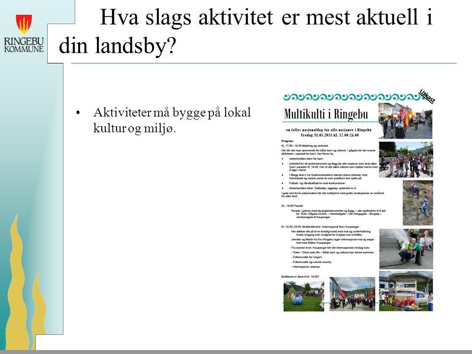 Hva slags aktivitet er mest aktuell i din landsby? Aktiviteter må bygge på lokal kultur og miljø.