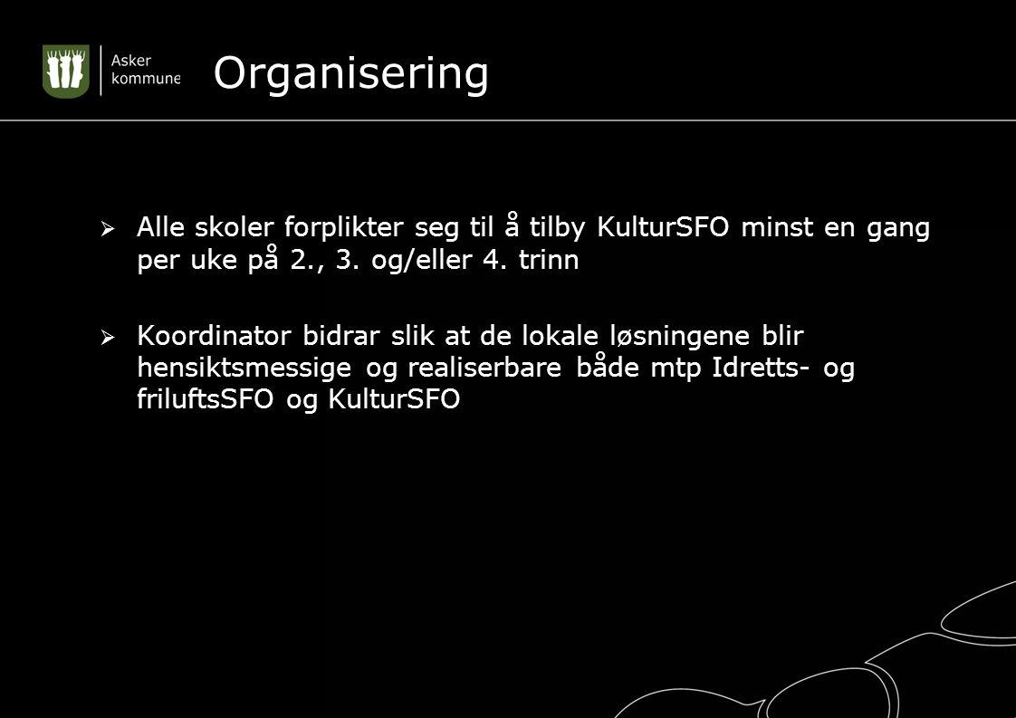Organisering  Alle skoler forplikter seg til å tilby KulturSFO minst en gang per uke på 2., 3.