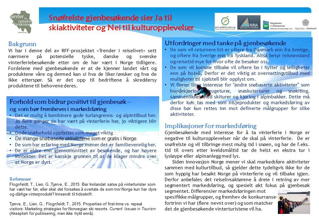 Bakgrunn Vi har i denne del av RFF-prosjektet «Trender i reiselivet» sett nærmere på potensielle tyske, danske og svenske vinterferiebesøkende etter om de har vært i Norge tidligere.