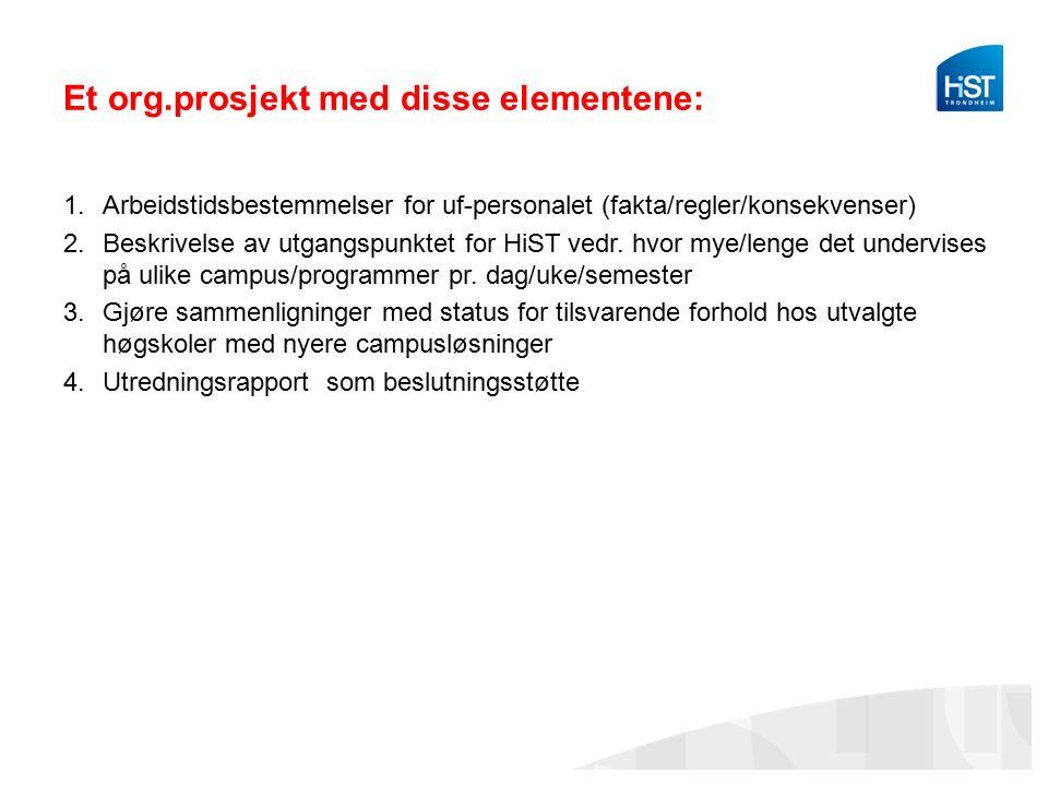 Et org.prosjekt med disse elementene: 1.Arbeidstidsbestemmelser for uf-personalet (fakta/regler/konsekvenser) 2.Beskrivelse av utgangspunktet for HiST