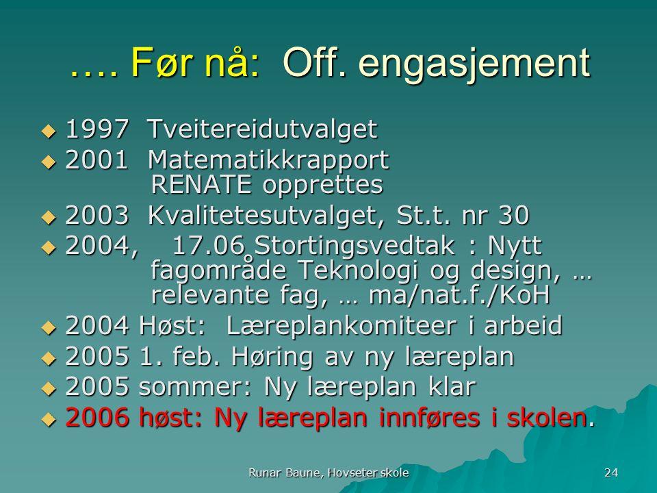 Runar Baune, Hovseter skole 24 …. Før nå: Off.