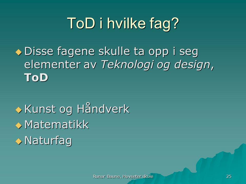Runar Baune, Hovseter skole 25 ToD i hvilke fag.