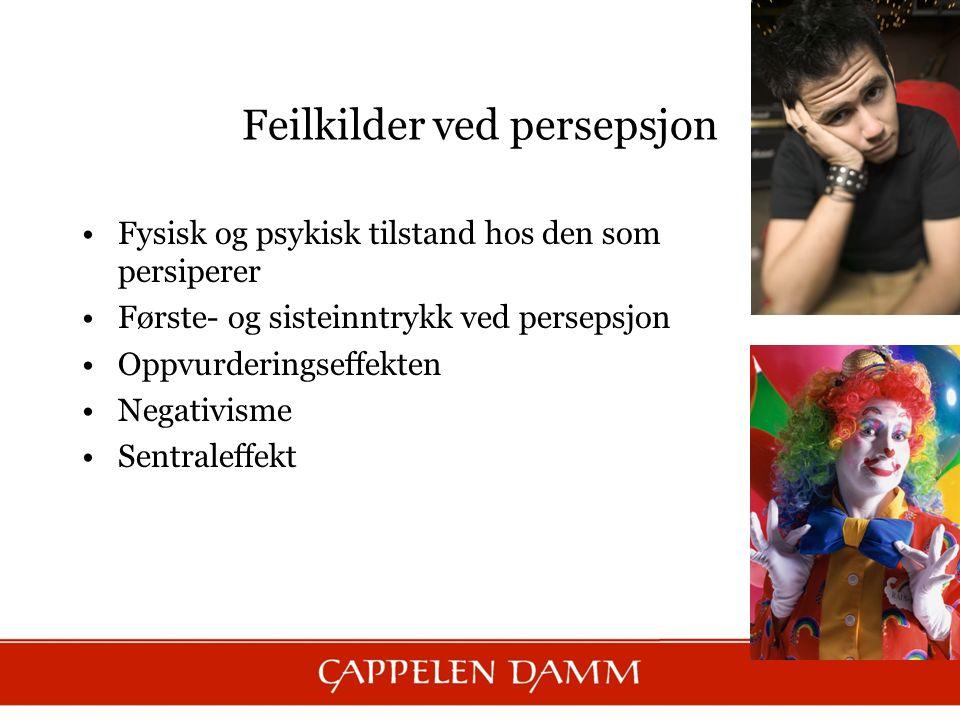 Fysisk og psykisk tilstand hos den som persiperer Første- og sisteinntrykk ved persepsjon Oppvurderingseffekten Negativisme Sentraleffekt