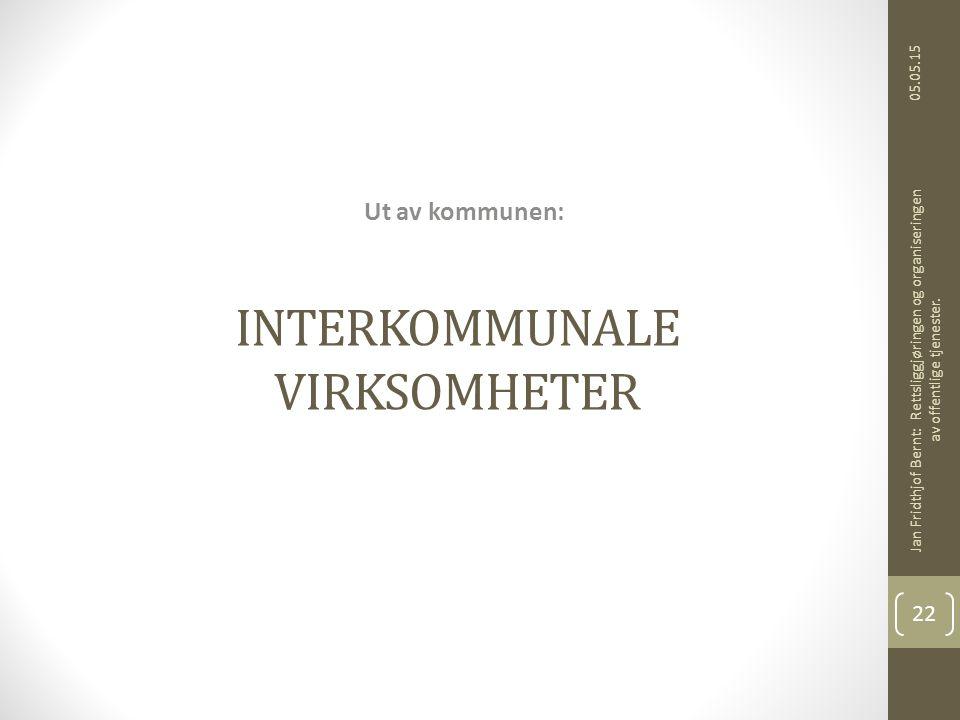 INTERKOMMUNALE VIRKSOMHETER Ut av kommunen: 05.05.15 Jan Fridthjof Bernt: Rettsliggjøringen og organiseringen av offentlige tjenester. 22
