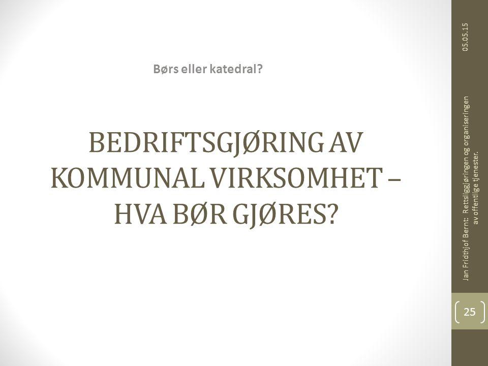BEDRIFTSGJØRING AV KOMMUNAL VIRKSOMHET – HVA BØR GJØRES.