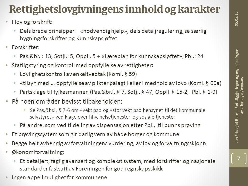 05.05.15 Jan Fridthjof Bernt: Rettsliggjøringen og organiseringen av offentlige tjenester.