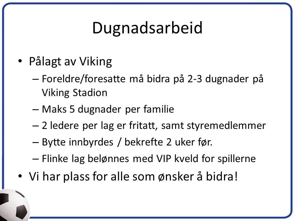 Dugnadsarbeid Pålagt av Viking – Foreldre/foresatte må bidra på 2-3 dugnader på Viking Stadion – Maks 5 dugnader per familie – 2 ledere per lag er fritatt, samt styremedlemmer – Bytte innbyrdes / bekrefte 2 uker før.