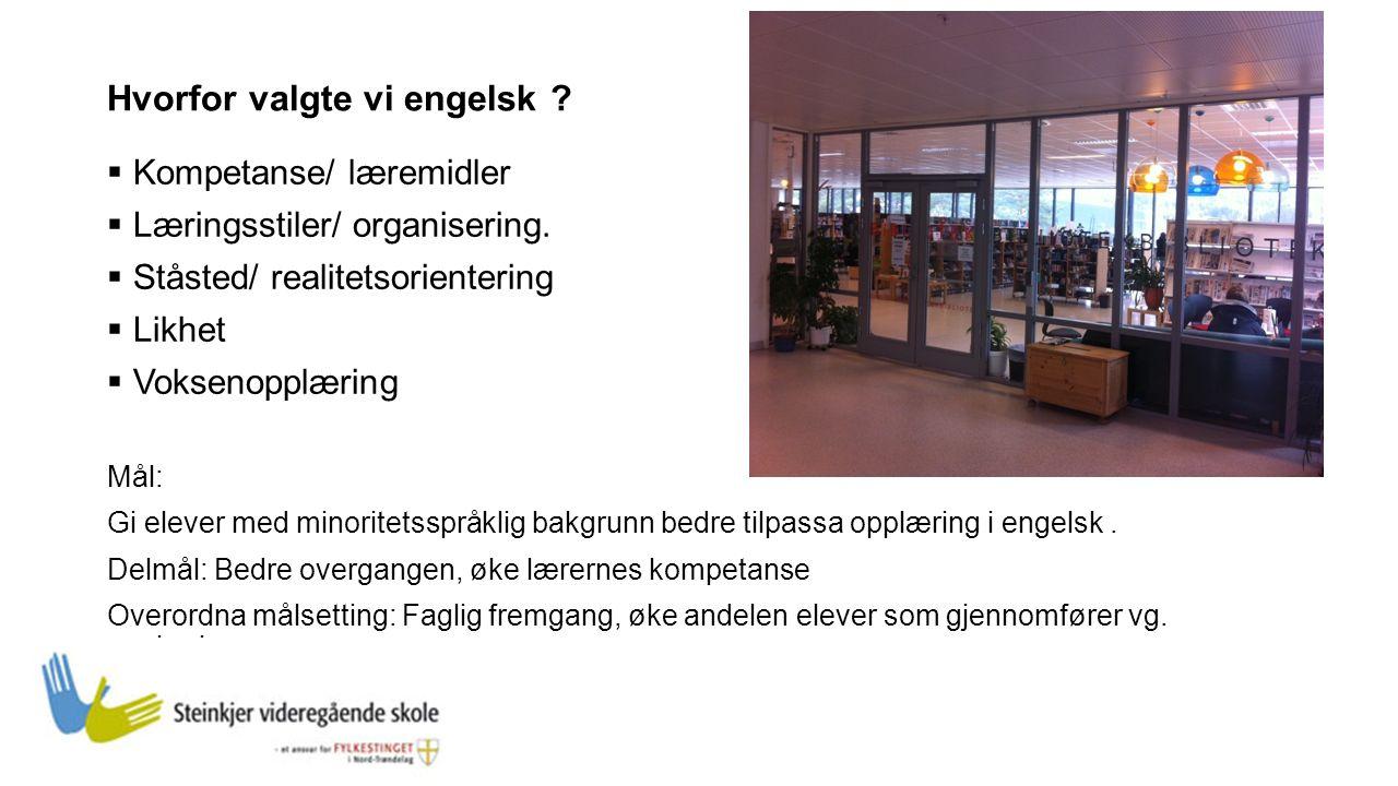 Hvorfor valgte vi engelsk .  Kompetanse/ læremidler  Læringsstiler/ organisering.