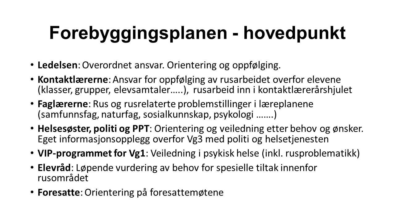 Forebyggingsplanen - hovedpunkt Ledelsen: Overordnet ansvar.