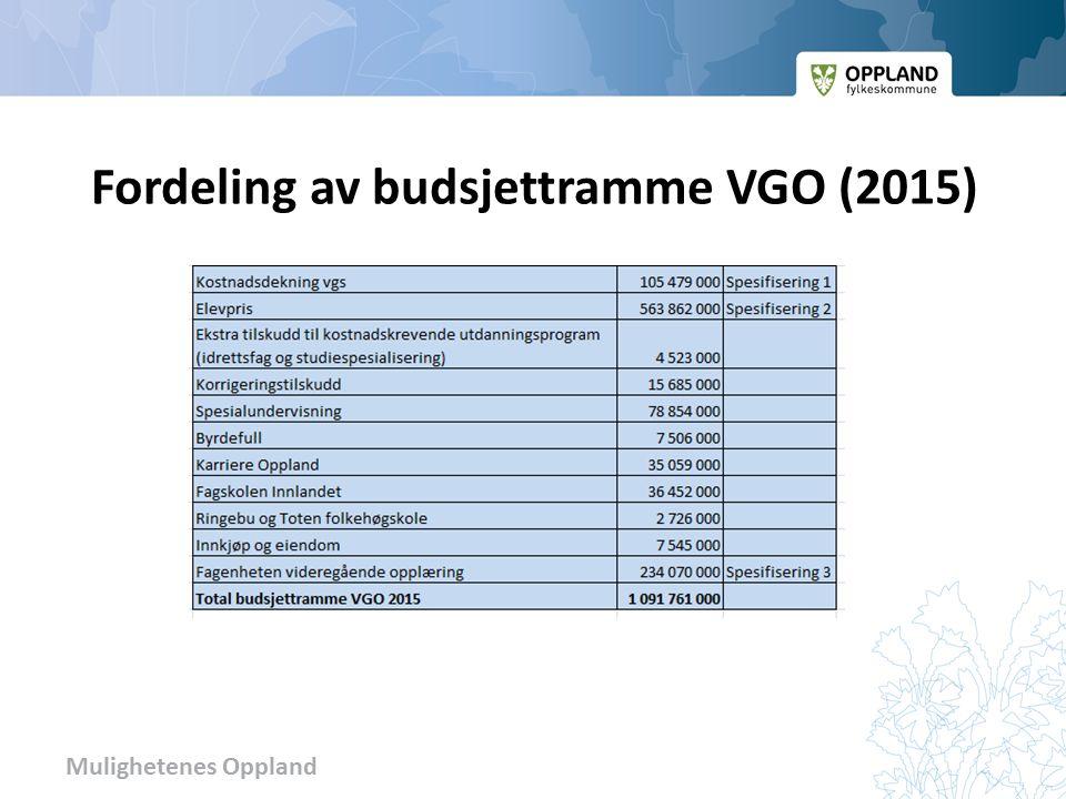 Mulighetenes Oppland Fordeling av budsjettramme VGO (2015)