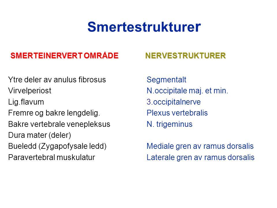 Smertestrukture r SMERTEINERVERT OMRÅDENERVESTRUKTURER SMERTEINERVERT OMRÅDE NERVESTRUKTURER Ytre deler av anulus fibrosus Segmentalt VirvelperiostN.occipitale maj.