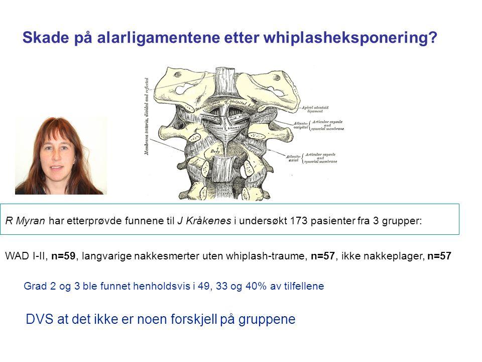R Myran har etterprøvde funnene til J Kråkenes i undersøkt 173 pasienter fra 3 grupper: WAD I-II, n=59, langvarige nakkesmerter uten whiplash-traume, n=57, ikke nakkeplager, n=57 Grad 2 og 3 ble funnet henholdsvis i 49, 33 og 40% av tilfellene DVS at det ikke er noen forskjell på gruppene Skade på alarligamentene etter whiplasheksponering