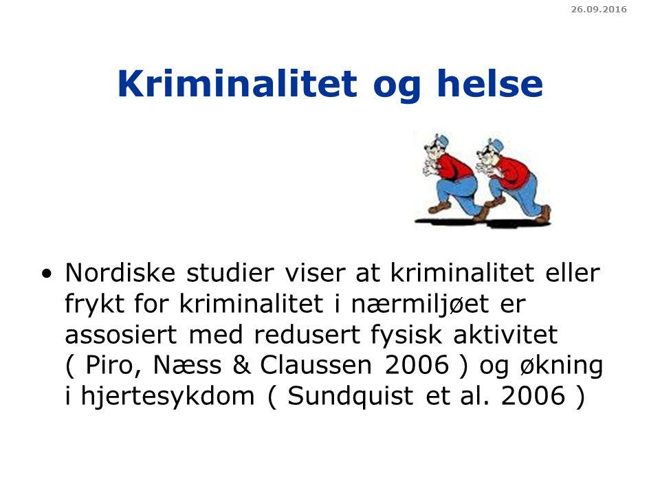 Kriminalitet og helse Nordiske studier viser at kriminalitet eller frykt for kriminalitet i nærmiljøet er assosiert med redusert fysisk aktivitet ( Piro, Næss & Claussen 2006 ) og økning i hjertesykdom ( Sundquist et al.
