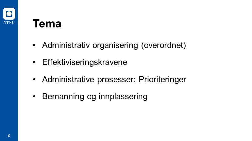 2 Tema Administrativ organisering (overordnet) Effektiviseringskravene Administrative prosesser: Prioriteringer Bemanning og innplassering