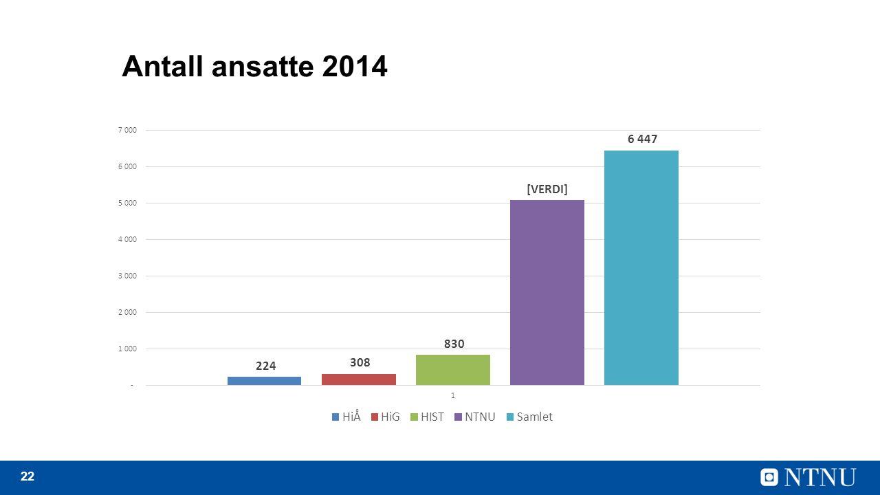 22 Antall ansatte 2014