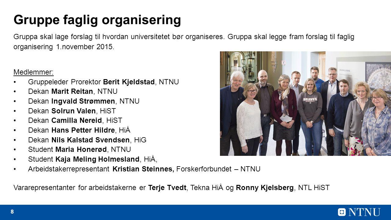 8 Gruppe faglig organisering Gruppa skal lage forslag til hvordan universitetet bør organiseres.