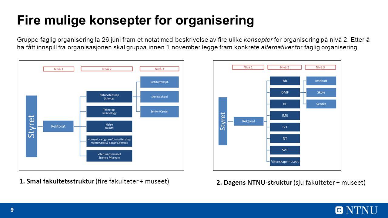 9 Fire mulige konsepter for organisering Gruppe faglig organisering la 26.juni fram et notat med beskrivelse av fire ulike konsepter for organisering på nivå 2.
