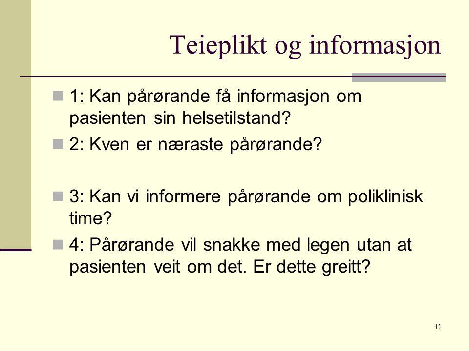 Teieplikt og informasjon 1: Kan pårørande få informasjon om pasienten sin helsetilstand? 2: Kven er næraste pårørande? 3: Kan vi informere pårørande o