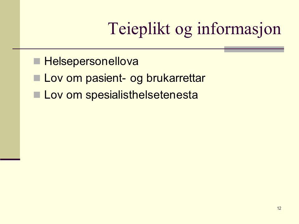 Teieplikt og informasjon Helsepersonellova Lov om pasient- og brukarrettar Lov om spesialisthelsetenesta 12