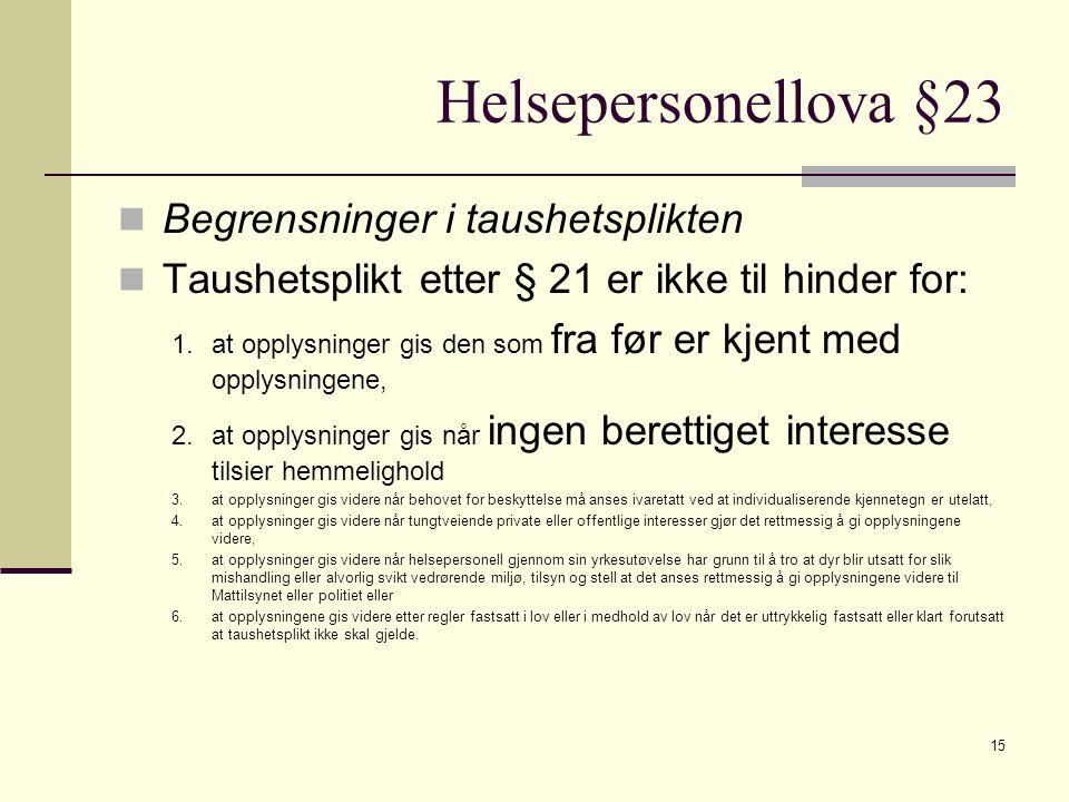 Helsepersonellova §23 Begrensninger i taushetsplikten Taushetsplikt etter § 21 er ikke til hinder for: 1.at opplysninger gis den som fra før er kjent