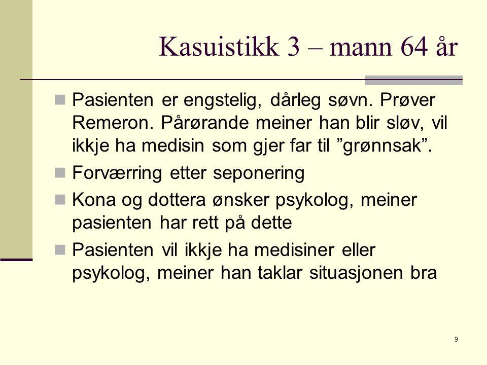 """Kasuistikk 3 – mann 64 år Pasienten er engstelig, dårleg søvn. Prøver Remeron. Pårørande meiner han blir sløv, vil ikkje ha medisin som gjer far til """""""