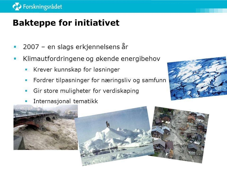 Bakteppe for initiativet  2007 – en slags erkjennelsens år  Klimautfordringene og økende energibehov  Krever kunnskap for løsninger  Fordrer tilpasninger for næringsliv og samfunn  Gir store muligheter for verdiskaping  Internasjonal tematikk