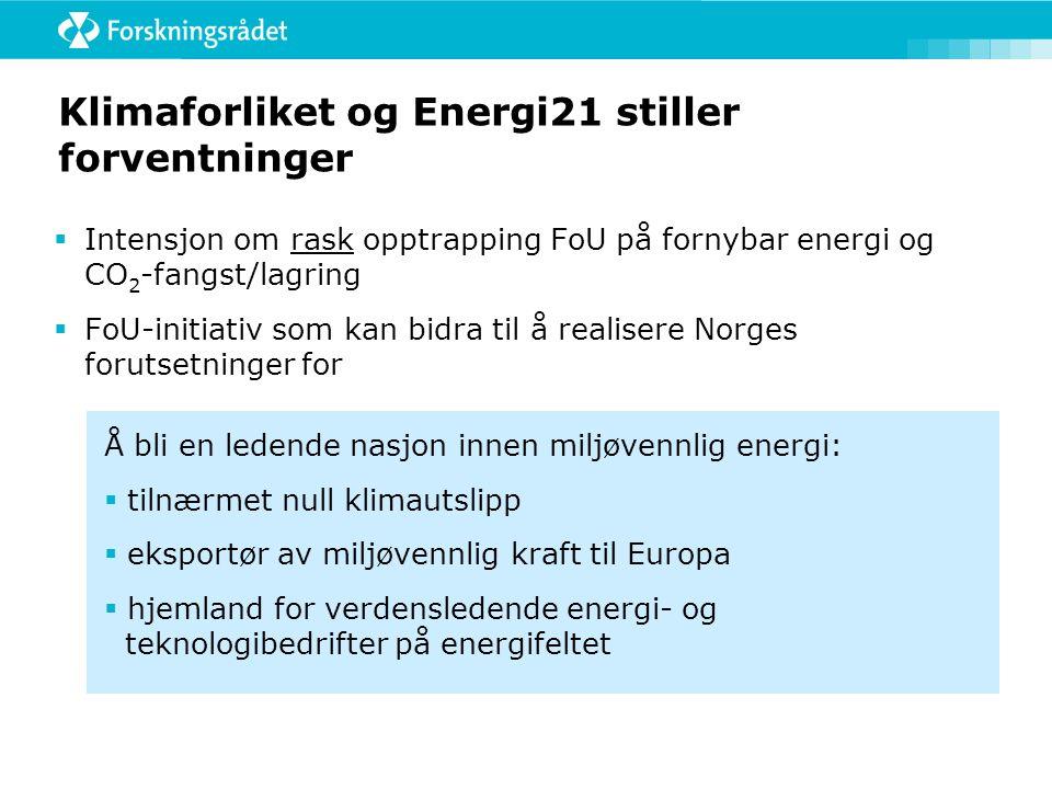 Klimaforliket og Energi21 stiller forventninger  Intensjon om rask opptrapping FoU på fornybar energi og CO 2 -fangst/lagring  FoU-initiativ som kan bidra til å realisere Norges forutsetninger for Å bli en ledende nasjon innen miljøvennlig energi:  tilnærmet null klimautslipp  eksportør av miljøvennlig kraft til Europa  hjemland for verdensledende energi- og teknologibedrifter på energifeltet