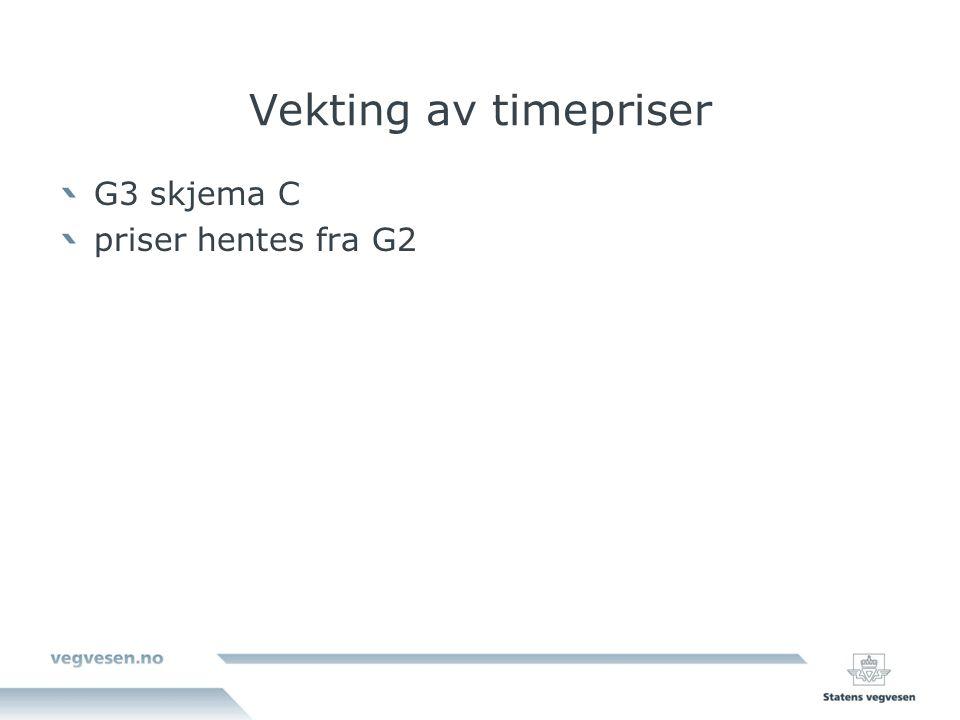 Vekting av timepriser G3 skjema C priser hentes fra G2