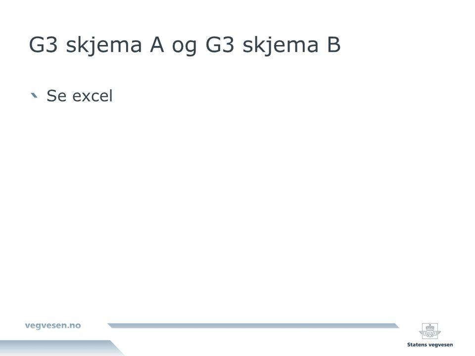G3 skjema A og G3 skjema B Se excel