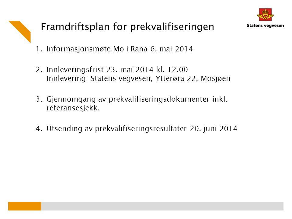 1.Informasjonsmøte Mo i Rana 6. mai 2014 2.Innleveringsfrist 23. mai 2014 kl. 12.00 Innlevering: Statens vegvesen, Ytterøra 22, Mosjøen 3.Gjennomgang