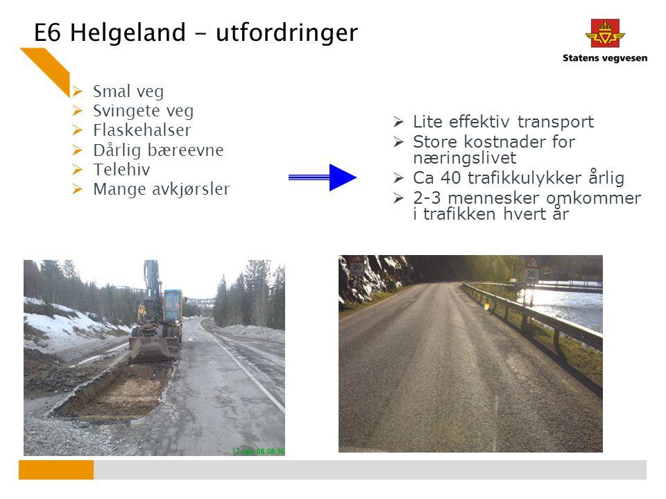 E6 Helgeland - utfordringer  Smal veg  Svingete veg  Flaskehalser  Dårlig bæreevne  Telehiv  Mange avkjørsler  Lite effektiv transport  Store