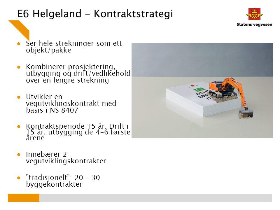 E6 Helgeland - Kontraktstrategi ● Ser hele strekninger som ett objekt/pakke ● Kombinerer prosjektering, utbygging og drift/vedlikehold over en lengre strekning ● Utvikler en vegutviklingskontrakt med basis i NS 8407 ● Kontraktsperiode 15 år.