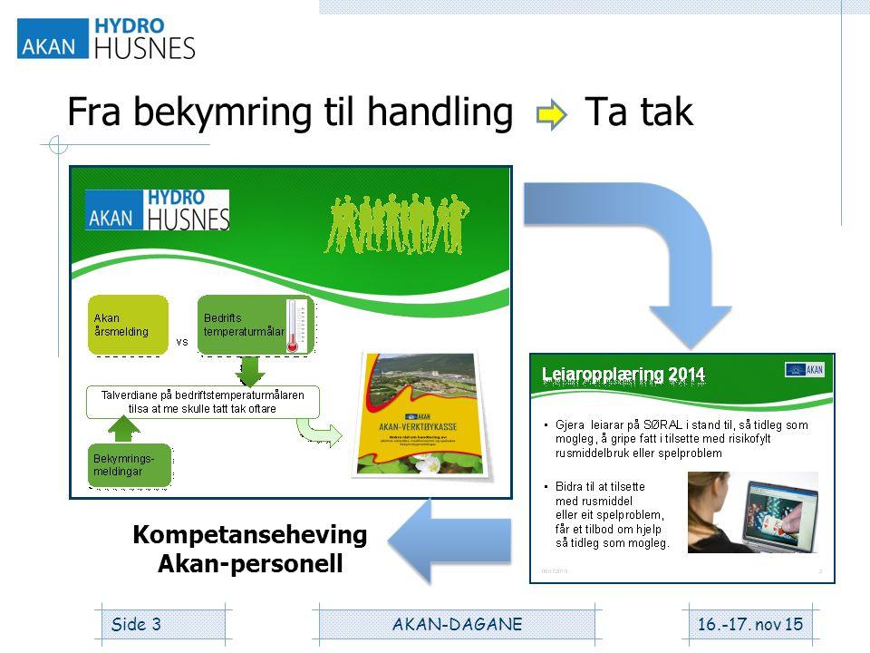 Fra bekymring til handling Ta tak 16.-17. nov 15AKAN-DAGANESide 3 Kompetanseheving Akan-personell
